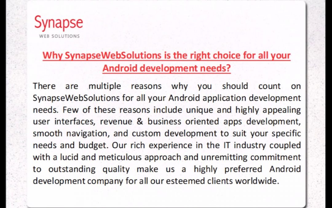 SynapseWebSolutions Android Application Development Company in UK