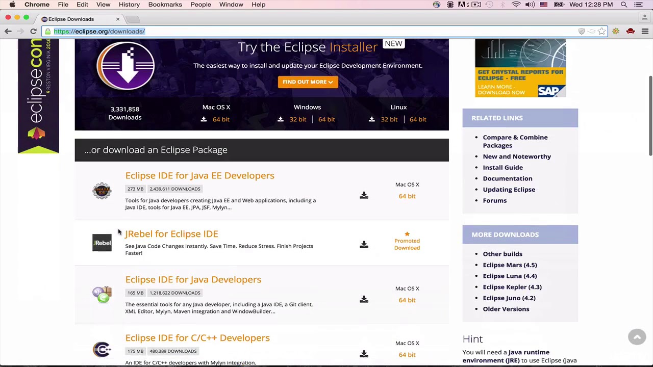 Download eclipse for web application development.