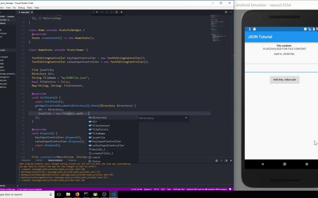 Flutter SDK Tutorial   JSON Storage App Development
