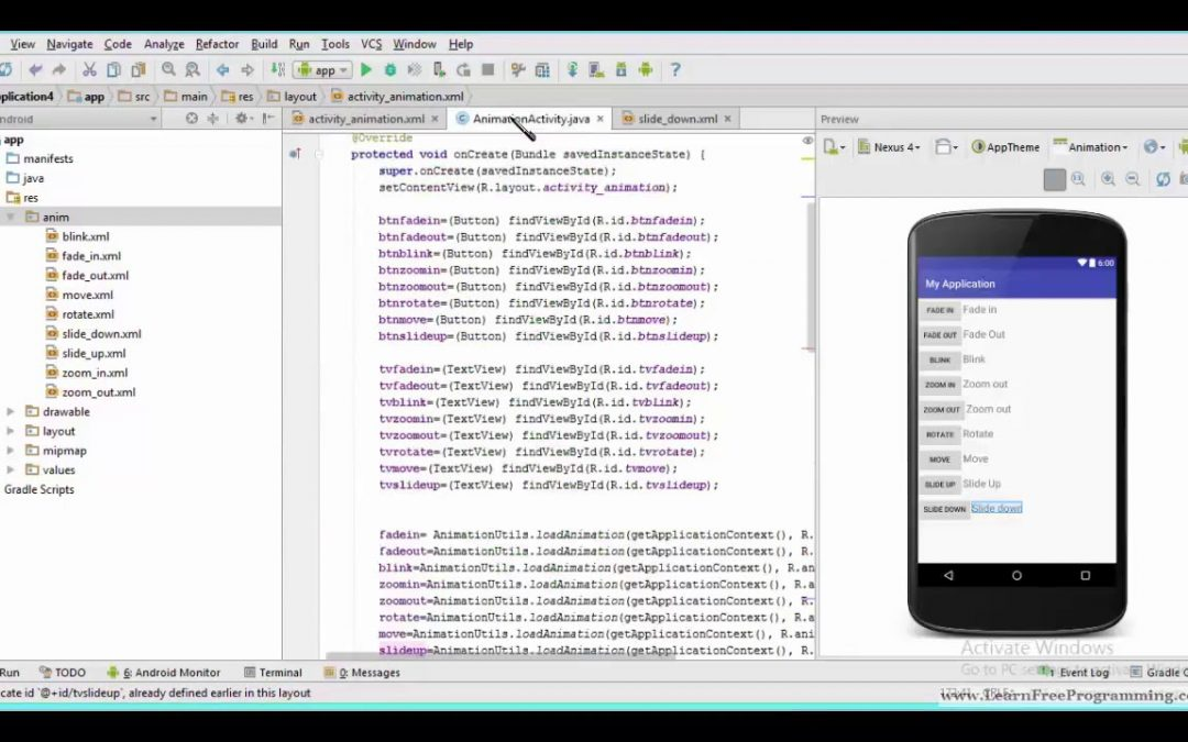 55. Slide Down animation in android in Urdu Hindi  Android app development